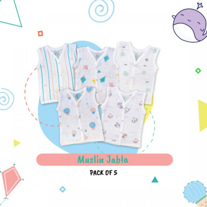 A Toddler Thing - Muslin Jablas - 3 to 6 Months - Button Type (Pack of 5)
