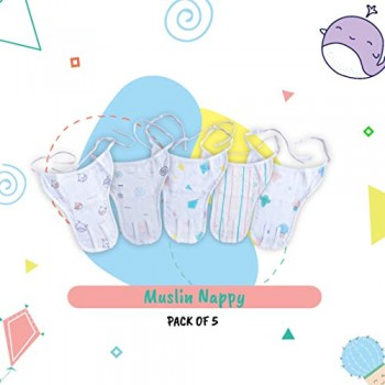 A Toddler Thing - Muslin Nappy - 0 to 3 Months - Knot Type (Pack of 5)