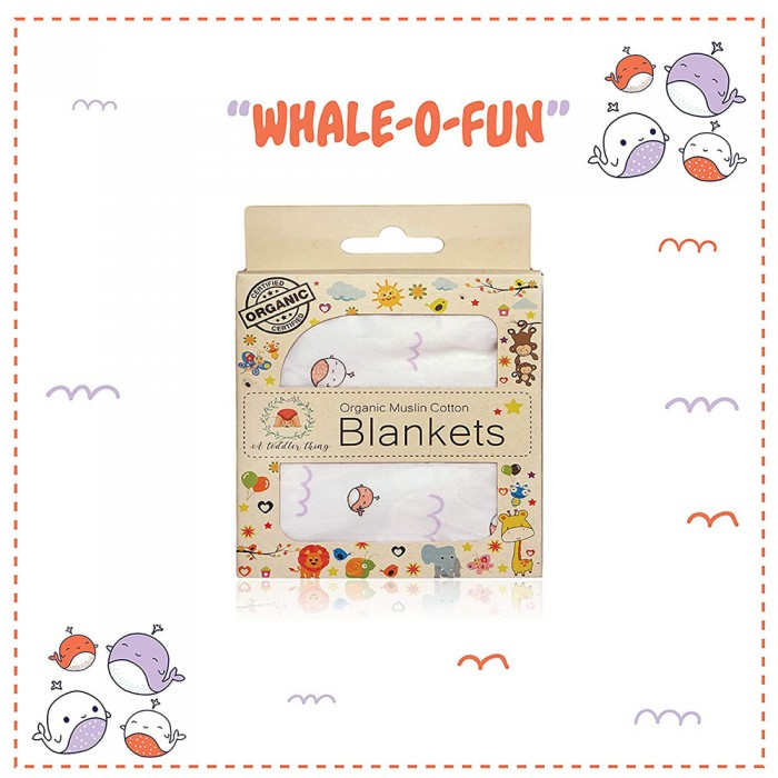 A Toddler Thing - Organic Muslin Cotton Blanket (Whale)