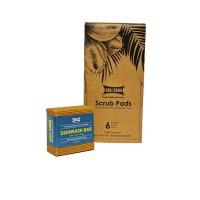 Goli Soda Natural Coconut Coir Round Stitched Dishwashing Scrub Pads and Probiotic Dish wash Bar - Exclusive Combo