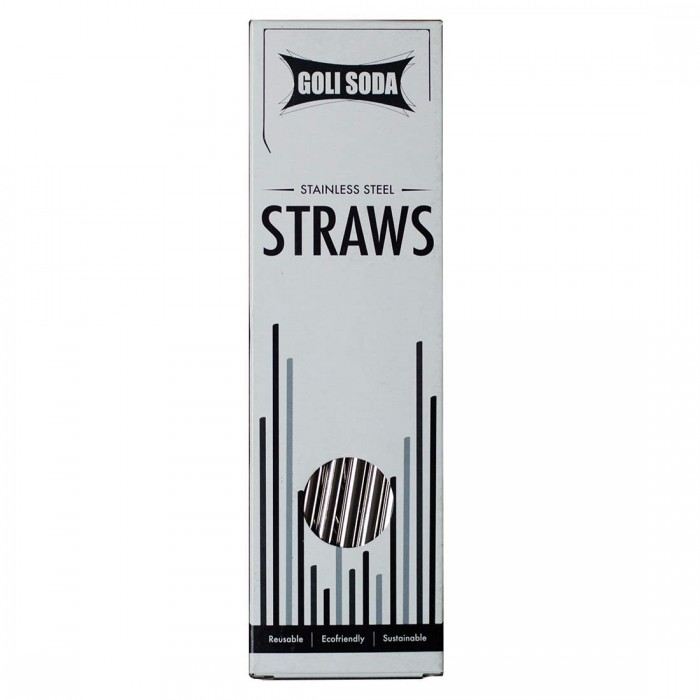 Goli Soda - Stainless Steel Bent Drinking Straws - Set of 10 - Eco Friendly/Washable / Reusable
