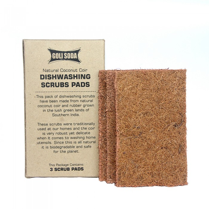 Goli Soda - Natural Coconut Coir Dishwashing Scrub Pads (Set of3)-  100 % Bio-degradable