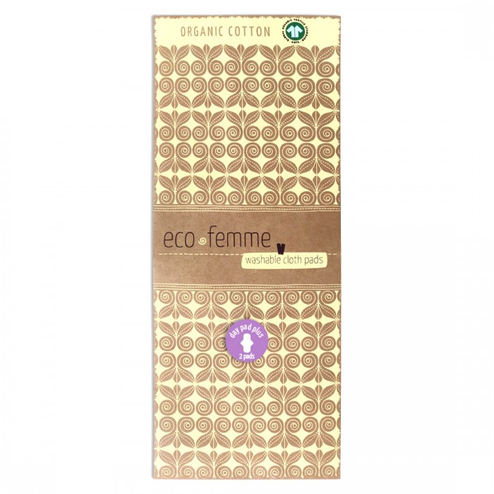 Eco Femme GOTS Certified Natural Organic Day Pad Plus - Twin Pack