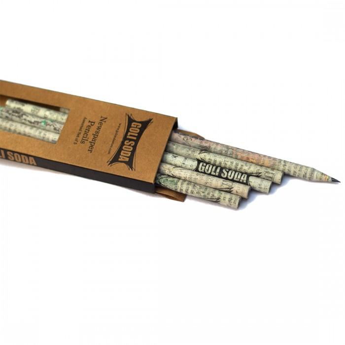 GOLI SODA Upcycled Plain Newspaper Pencils (Pack of 20)