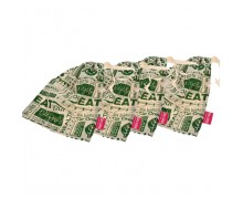 "Golisoda Reusable Cotton Go Green Produce Bag (Big 12"" x 10"") - Fruit Vegetable Bags / Fridge Bags / Veggie Bag - Set of 4"