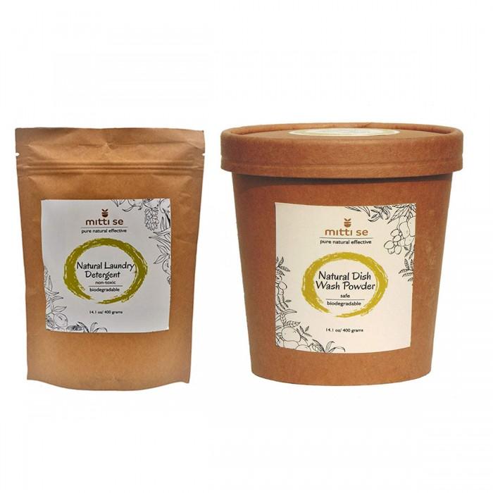 Mitti Se Natural Dish Wash Powder (400 g) and Laundry Detergent (400g)
