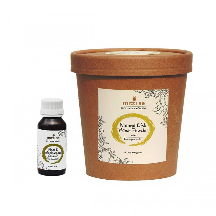 Mitti Se Natural Dish Wash Powder (400 g) and Floor Multipurpose Cleaner (60 ml)
