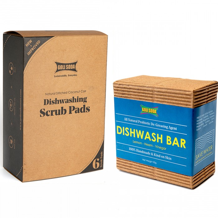 GOLI SODA Coconut Coir Scrub And Probiotic Dishwash Bar - Exclusive Combo