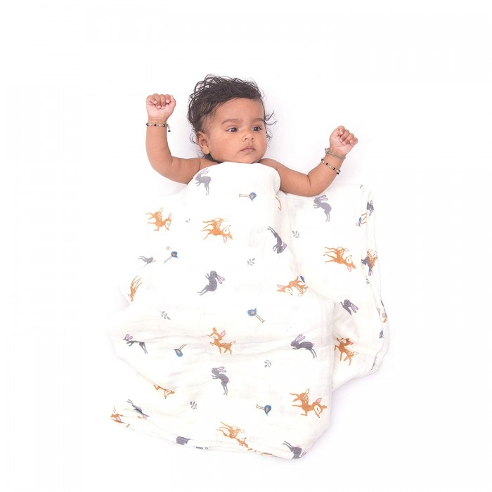 Polka Tots Printed Baby Blankets 2 Layer Muslin Cotton Cloth Swaddle