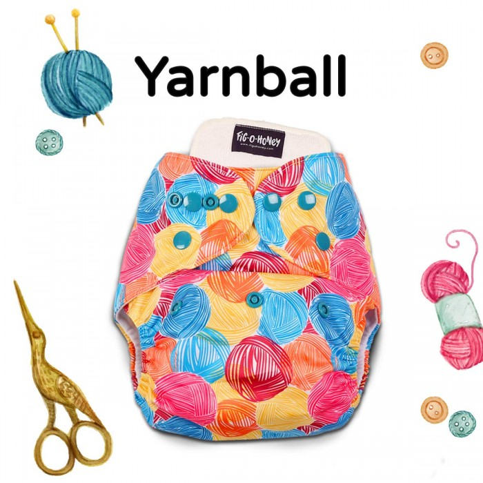 Fig-O-Honey Yarnball Print One-Size Cloth Diaper