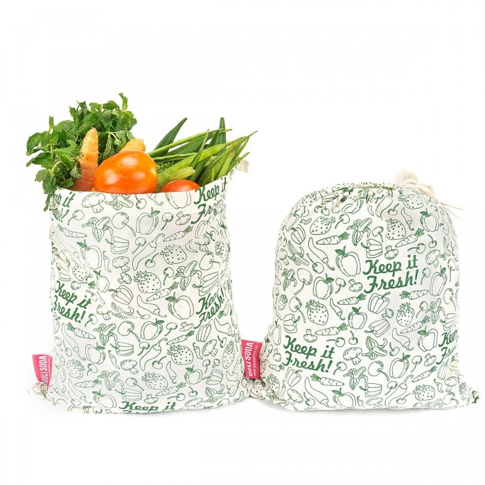 "Golisoda Reusable Cotton Produce Bags / Fruit Vegetable Bags / Fridge Bags / Veggie Bag - Keep it Fresh - Small (11"" x 8"")"