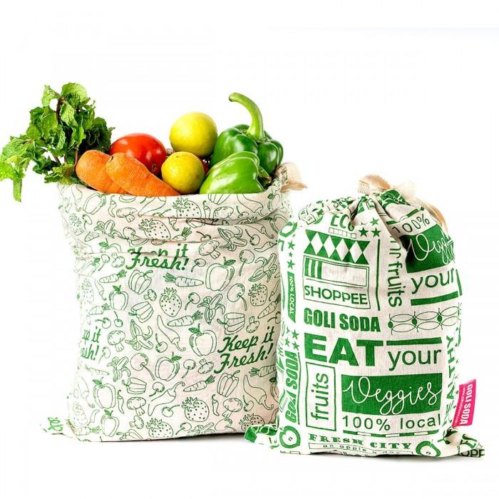 "Golisoda Set of 4 Reusable Cotton Produce Bags / Fruit Vegetable Bags / Fridge Bags / Veggie Bag - Keep it Fresh Small (11"" x 8"") & Medium (12"" x 10"") and Go Green Small (11"" x 8"") & Medium (12"" x 10"")"