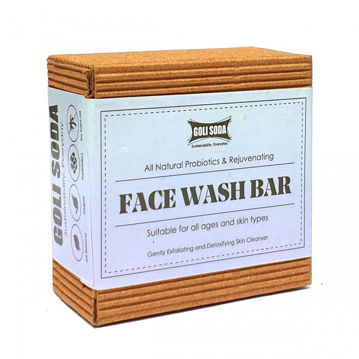 GOLI SODA All Natural Probiotics & Rejuvenating Face Wash Bar (Pack of 1)