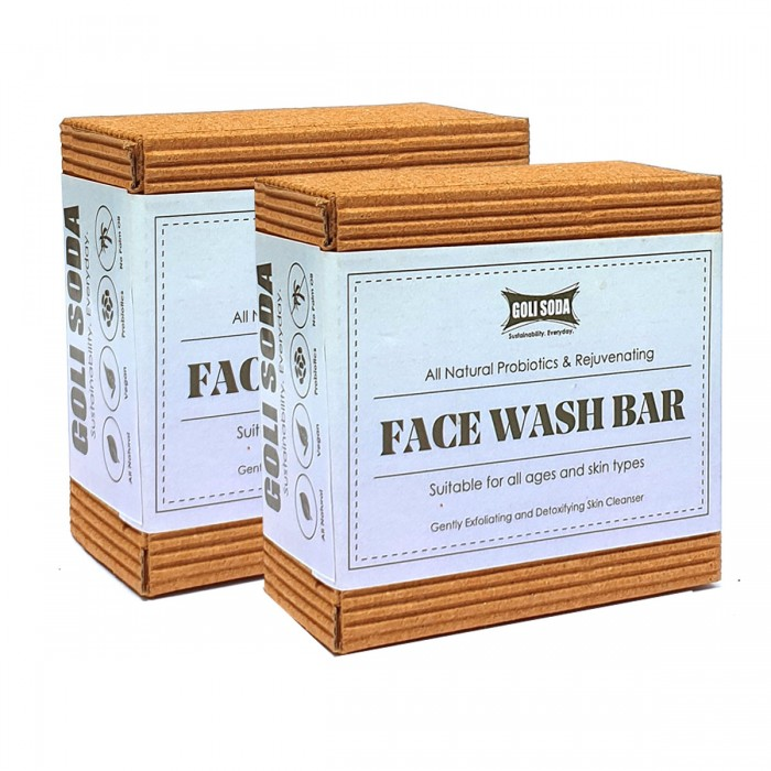 GOLI SODA All Natural Probiotics & Rejuvenating Face Wash Bar (Pack of 2)