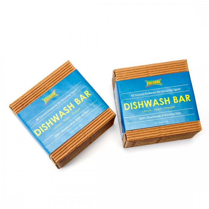 GOLI SODA All Natural Probiotic De Greasing Agent Dishwash Bar Set of 2