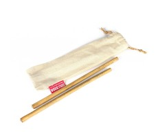 GOLI SODA Reusable Bamboo Straws With Easy Carry Travel Pouch (Set of 2)