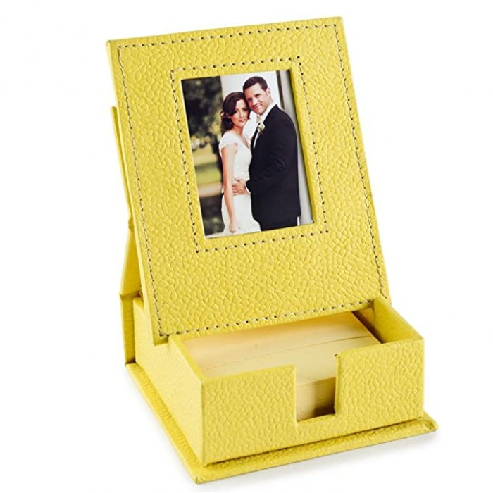 Ecoleatherette Handcrafted Eco-Friendly Paper Slips Holder with Frame Memo Holder (Lime Yellow)
