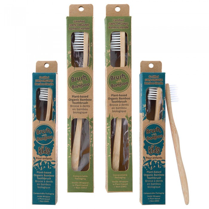 Goli Soda - Adults And Kids Bamboo Toothbrush Combo - Pack of 4 - USDA Certified 100% Organic Bamboo, BPA Free, Vegan, Verified Non-Toxic, Biodegradable, Eco Friendly