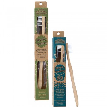 Goli Soda - Adults And Kids Bamboo Toothbrush Combo - Pack of 2 - USDA Certified 100% Organic Bamboo, BPA Free, Vegan, Verified Non-Toxic, Biodegradable, Eco Friendly