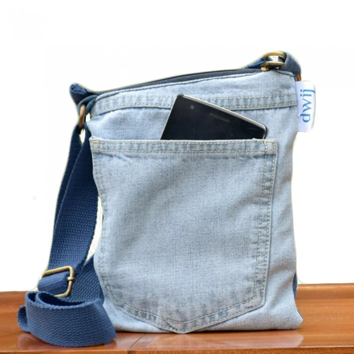 Dwij Brisk Bag Made Up Of Upcycled Jeans - Eco Friendly / Unique / Trendy / Washable / Durable