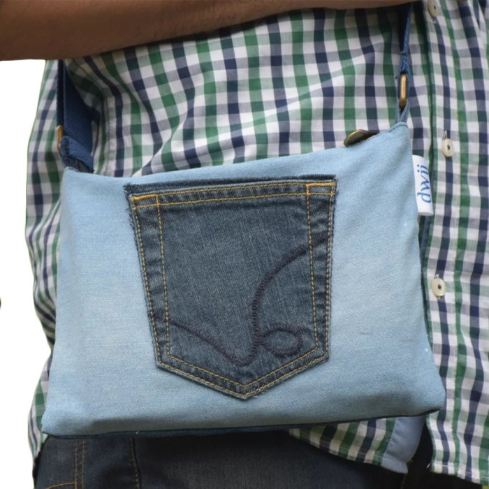 Dwij Pace Bag Made Up Of Upcycled Jeans - Eco Friendly / Unique / Trendy / Washable / Durable