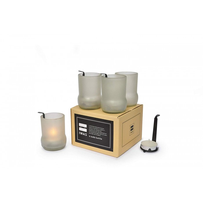 IWAS Frosted White Tealight Candle Holders with Tealights - Set Of 4