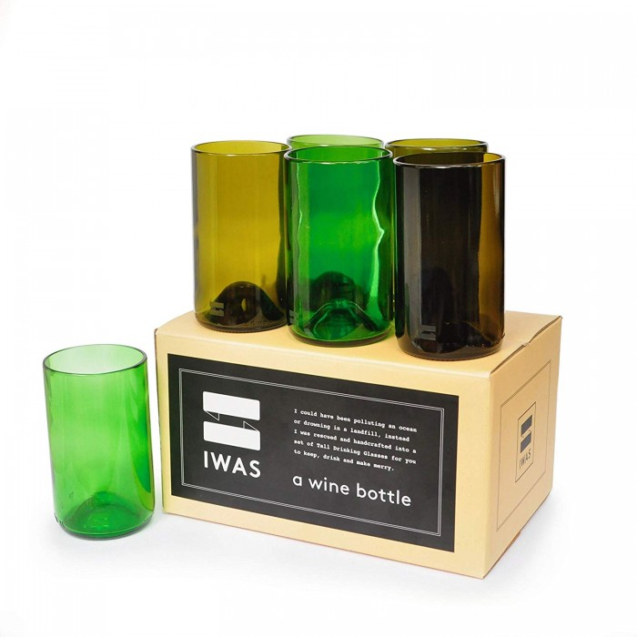 IWAS Tall Green & Olive Drinking Glass - Set Of 6