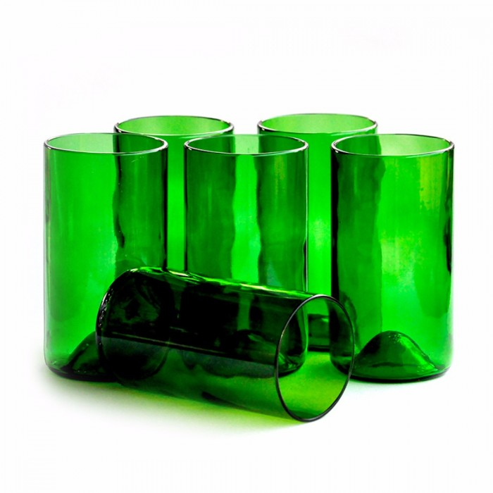 BÔTL Upcycled Old Fashioned Whiskey Glasses - Green - 250 ml (Set Of 6)