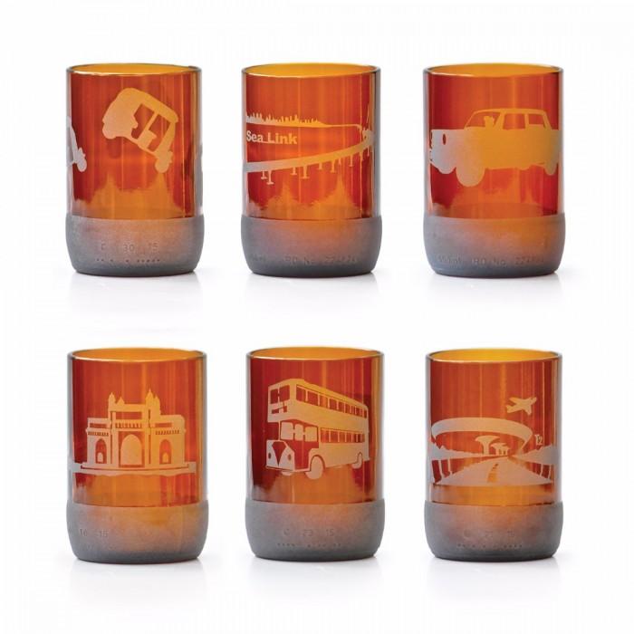 BÔTL'S Small Auburn Drinking Glasses - 300 ml - Mumbai Collection (Set Of 6)