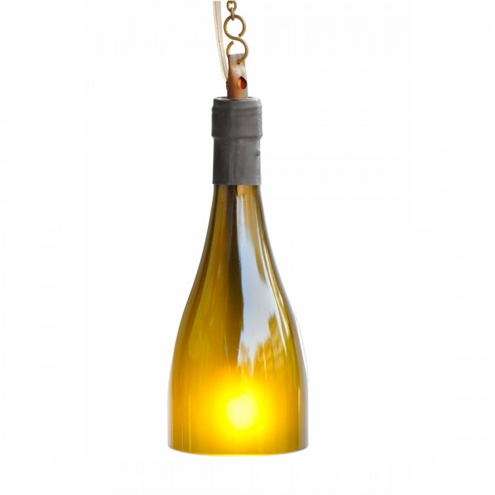 BÔTL Recycled Champagne Bottle Hanging Pendant Light - Olive Green