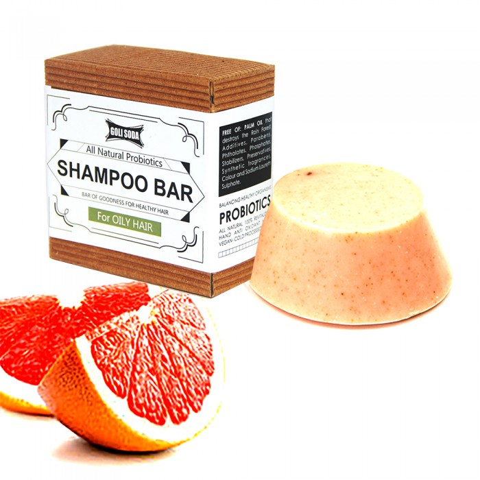 Goli Soda - Probiotics Sulphate Free  Shampoo Bar For Oily Hair 90 gm - All Natural / Biodegradable / Non Toxic / Cruelty Free / Palm Oil Free