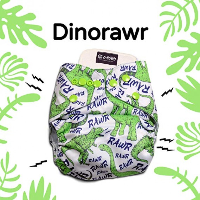Fig-O-Honey Dino Rawr Print One-Size Cloth Diaper-Grey With 1 Insert