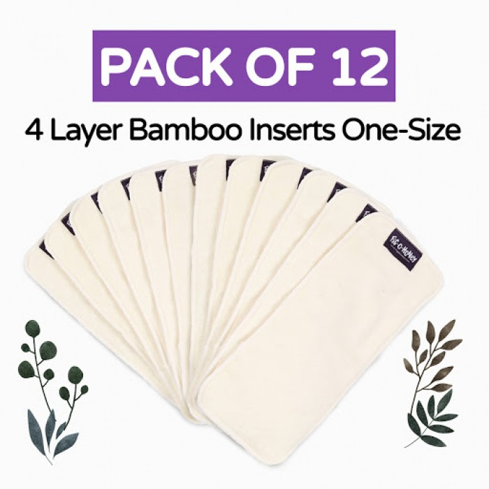 Fig-O-Honey Bamboo Insert One-Size 4 Layers - Pack Of 12
