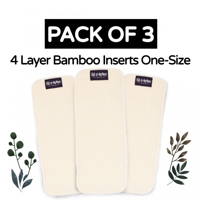 Fig-O-Honey Bamboo Insert One-Size 4 Layers - Pack Of 3