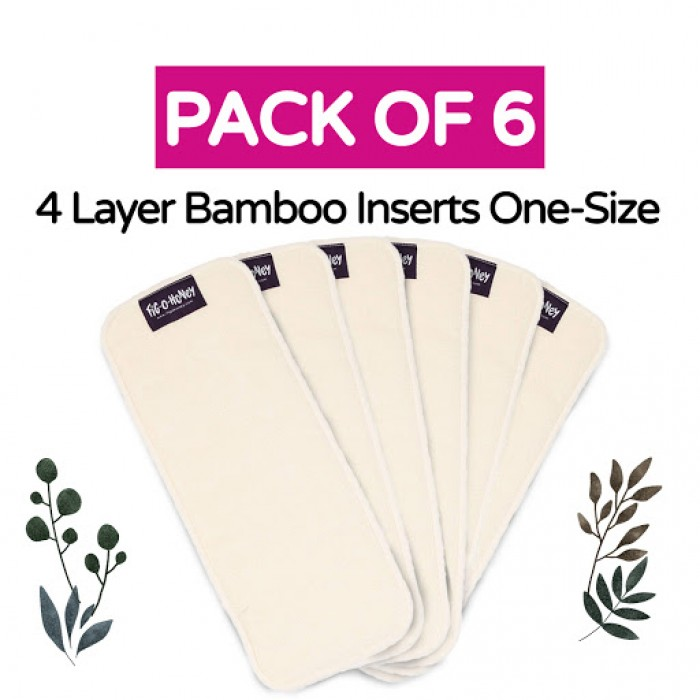 Fig-O-Honey Bamboo Insert One-Size 4 Layers - Pack Of 6
