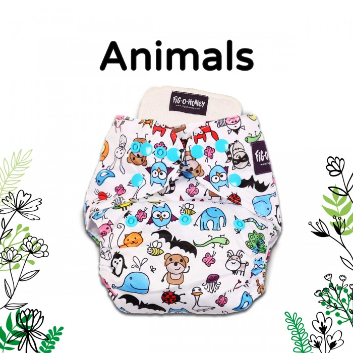Fig-O-Honey Animals Print One-Size Cloth Diaper With 1 Insert