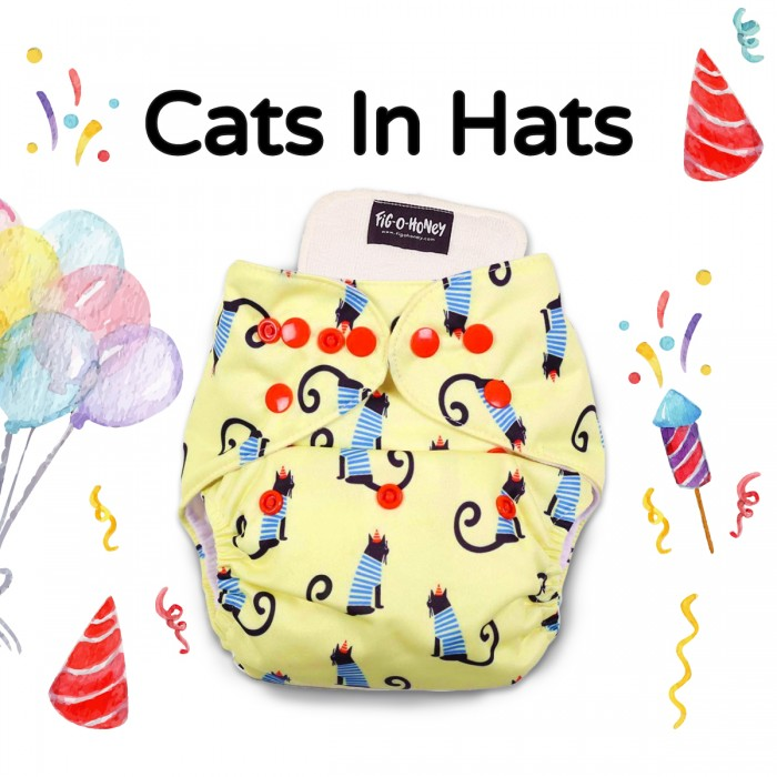 Fig-O-Honey Cats In Hats Print One-Size Cloth Diaper With 1 Insert