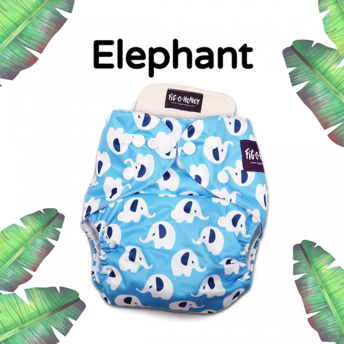 Fig-O-Honey Elephant Print One-Size Cloth Diaper With 1 Insert