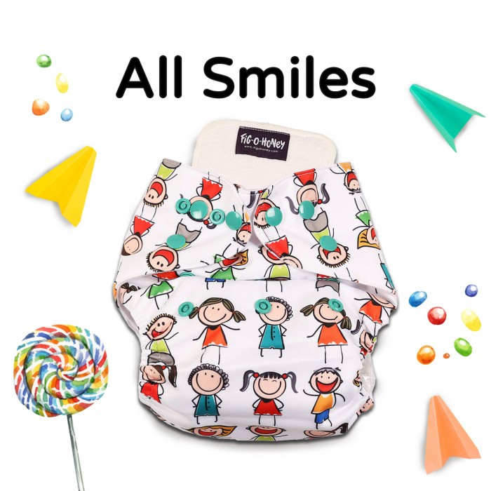 Fig-O-Honey All Smiles Print One-Size Cloth Diaper With 1 Insert