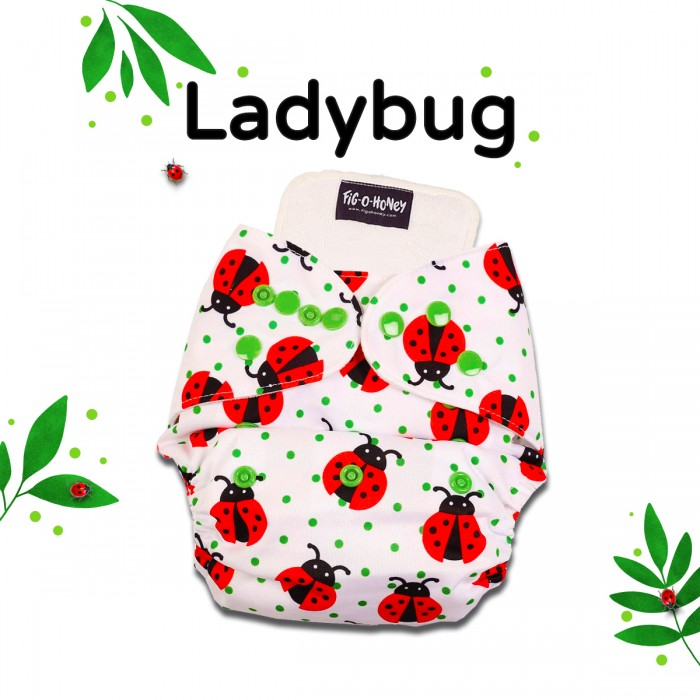 Fig-O-Honey Ladybug Print One-Size Cloth Diaper With 1 Insert