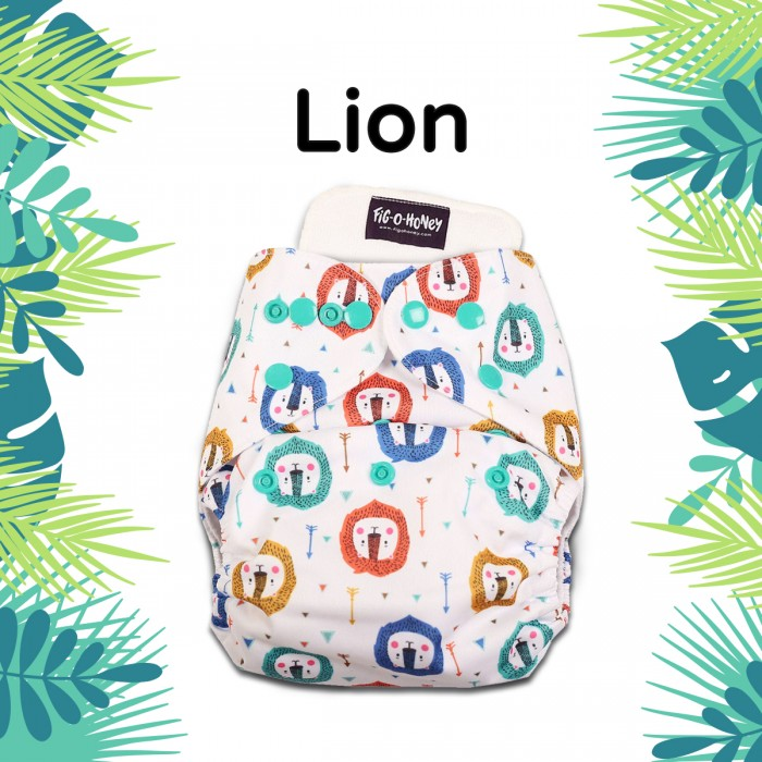 Fig-O-Honey Lion Print One-Size Cloth Diaper With 1 Insert