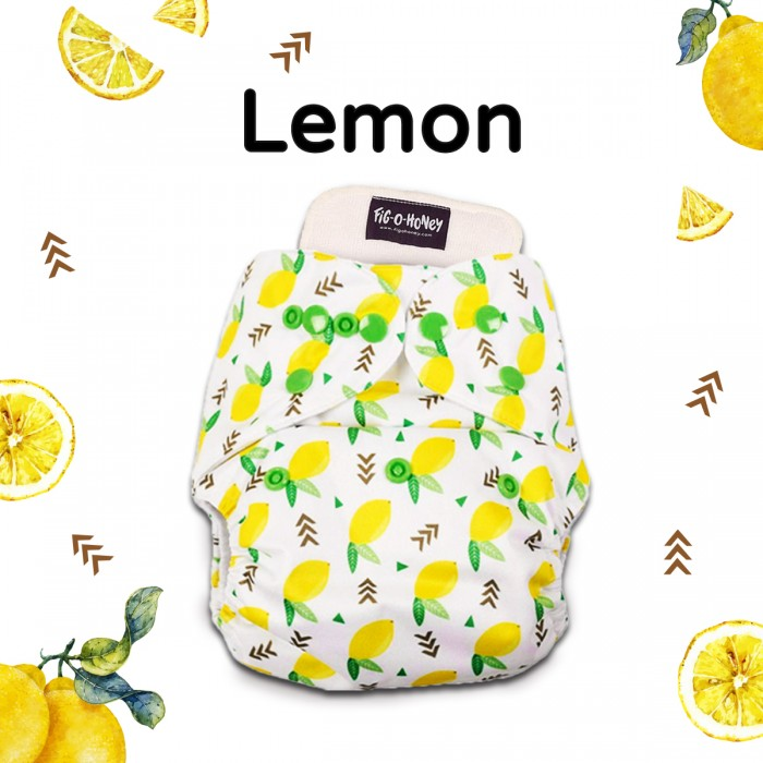 Fig-O-Honey Lemon Print One-Size Cloth Diaper With 1 Insert