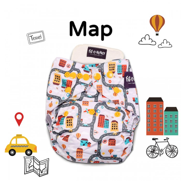 Fig-O-Honey Map Print One-Size Cloth Diaper With 1 Insert