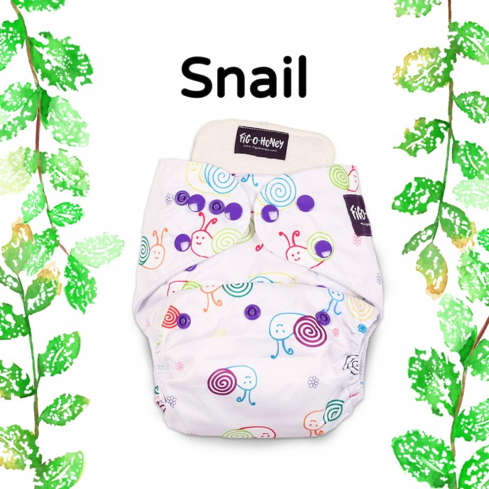 Fig-O-Honey Snail Print One-Size Cloth Diaper With 1 Insert