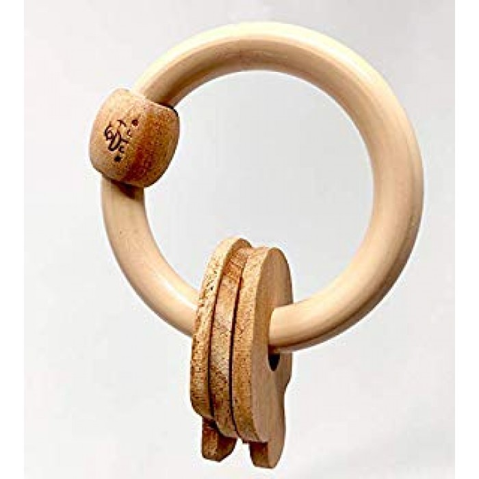 Ariro Circular Rattle With Mushrooms-Beige