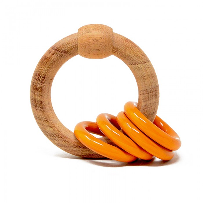 Ariro Wooden Round Rattle (Orange)
