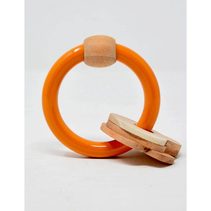 Ariro Wooden Circular Rattle - Mushrooms (Orange)