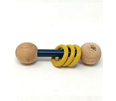 "Ariro Wooden Dumbbell Rattle €"" Blue And Yellow"