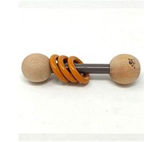 Ariro Wooden Dumbell Rattle- Grey And Orange