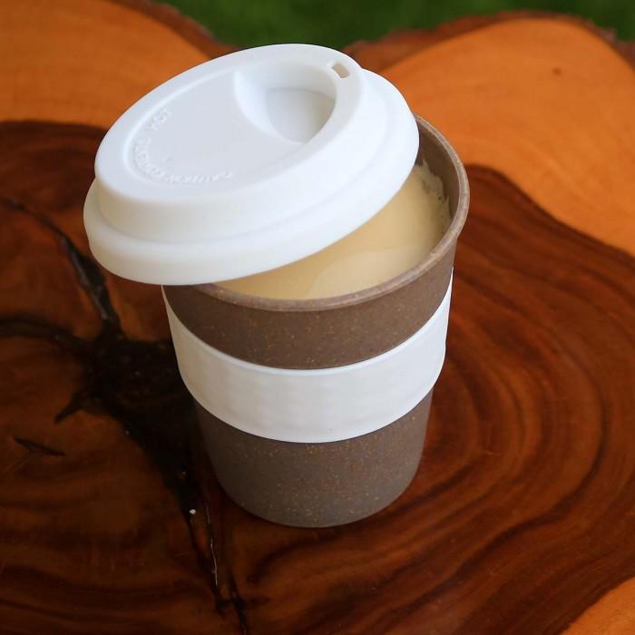 For Earth's Sake Reusbale Bamboo Fiber Coffee Cup (White)